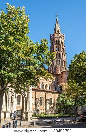 TOULOUSE,FRANCE - AUGUST 30,2016 - Basilica of Saint Sernin in Toulouse. Toulouse is the capital city of the southwestern French department of Haute-Garonne as well as of the Occitanie region.