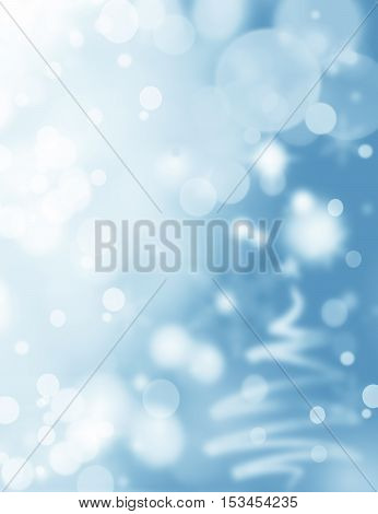 Blue Festive Christmas background with Christmas tree. Elegant abstract background with bokeh defocused lights and stars