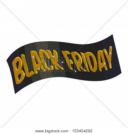 Ribbon black friday icon. Cartoon illustration of ribbon black friday vector icon for web