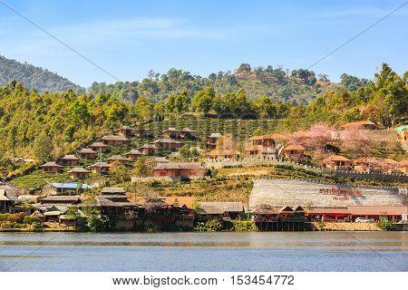 MAE HONG SON THAILAND - 03 FEBRUARY 2016 - Lodging houses on the hill at Ban Rak Thai (Thai loving village) Mae Hong Son province Thailand.