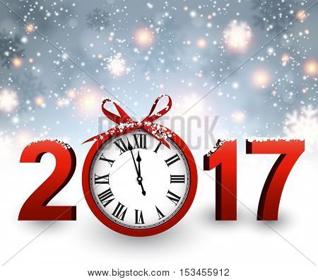 2017 New Year blue background with clock and snow. Vector illustration.