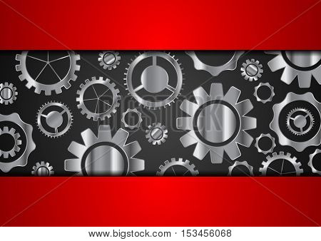Technology abstract background with metallic gears. Silver tech vector design