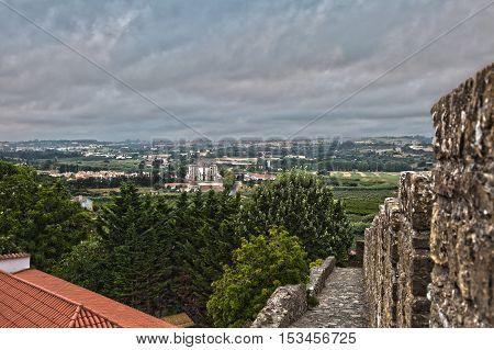 View From Medieval Portuguese City Of Obidos Walls: Nucleo Museolugico Do Santuario Do Senhor Jesus