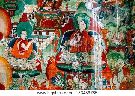 Thiksey village in Ladakh, India - AUGUST 20: Fresco with Buddha life history on wall in Thiksey Monastery on August 20, 2016  in Thiksey village in Ladakh, India.