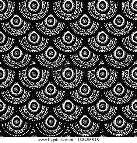 Ethnic seamless pattern. Indian ornament kaleidoscopic flora pattern mandala. range circle round disk. nice abstract seamless pattern black and white