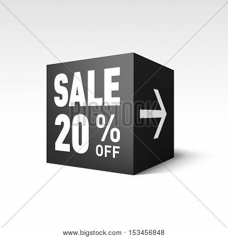Black Cube Banner Template for Holiday Sale Event. Twenty Percent off Discount