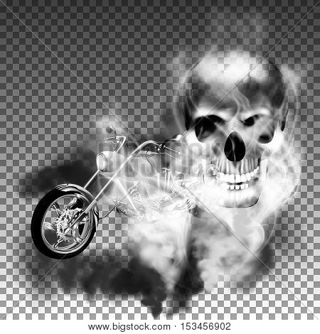 Motobike chopper in black and white smoke from the skull. Isolated objects made with the smoke opacity is realistic and can be used with any image or text background.