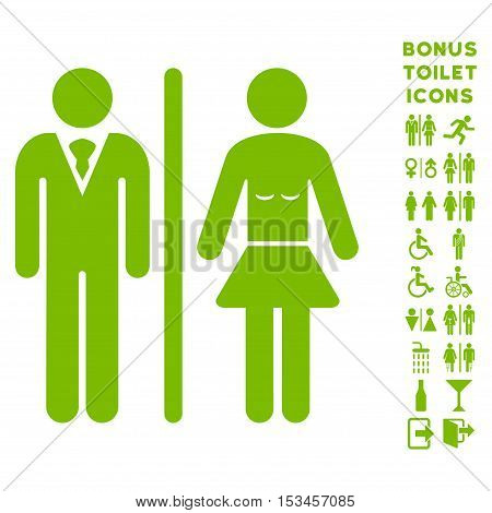 Toilet Persons icon and bonus male and lady lavatory symbols. Vector illustration style is flat iconic symbols, eco green color, white background.