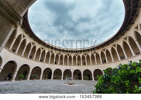 Wide angle view of top of Bellver Castle in Majorca