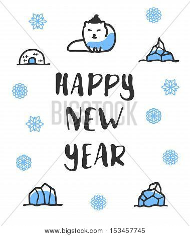 Happy new year poster with lettering. Funny doodle arctic fox with cartoon icebergs and snowflakes. Vector illustration isolated on white. Cute fox wears hat