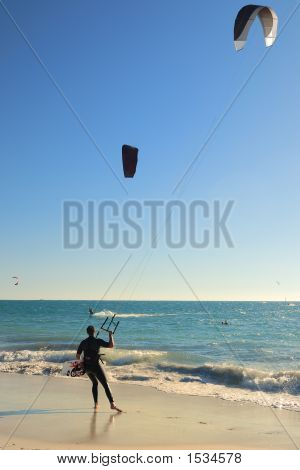 Kite Surfer With Kite