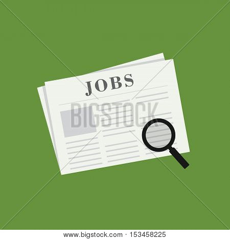 Search The Job vacancy on Newspaper illustration
