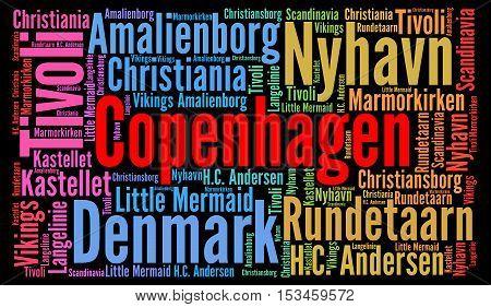 Copenhagen city in Denmark word cloud concept