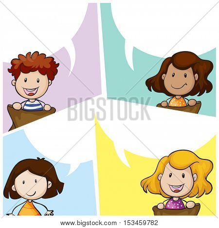 Speech bubble template with many kids illustration