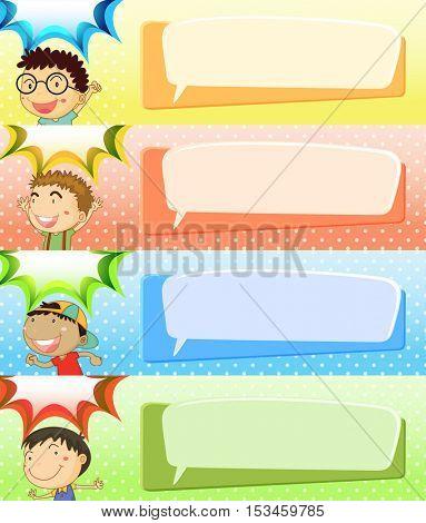 Speech bubble templates with four boys illustration
