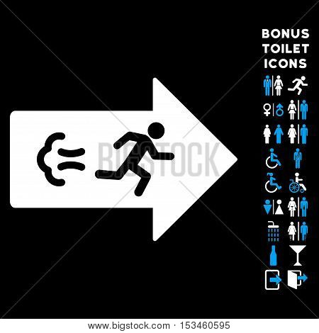 Exit Direction icon and bonus man and lady lavatory symbols. Vector illustration style is flat iconic bicolor symbols, blue and white colors, black background.