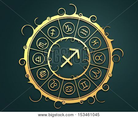 Astrological symbols in the circle. Golden emblem. Metallic material. 3d rendering. The archer sign