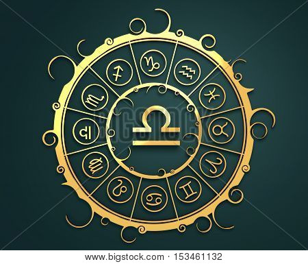 Astrological symbols in the circle. Golden emblem. Metallic material. 3d rendering. The scales sign