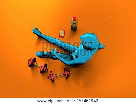 Top view of sporty young woman. 3D rendering. Mannequin of a metallic material and dumbbells. View from above.