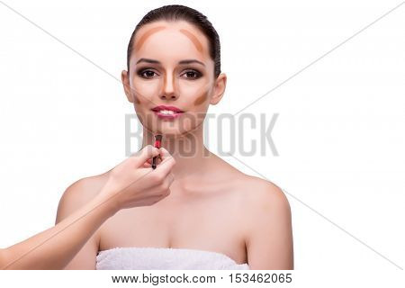 Young woman in beauty concept isolated on white