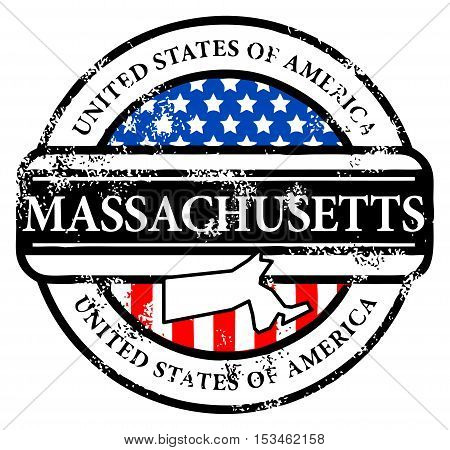 Grunge rubber stamp with name of Massachusetts, vector illustration