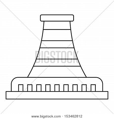 Refinery with pipe icon. Outline illustration of refinery with pipe vector icon for web