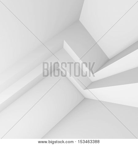 3d Illustration of  Modern Interior Design. Minimal Architecture Background. White Abstract Shapes. Futuristic Building Construction