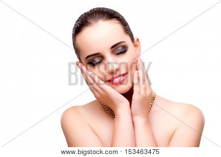 Beautiful woman with jewellery isolated on white