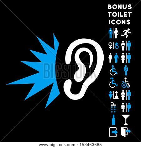 Listen Loud Sound icon and bonus man and woman restroom symbols. Vector illustration style is flat iconic bicolor symbols, blue and white colors, black background.