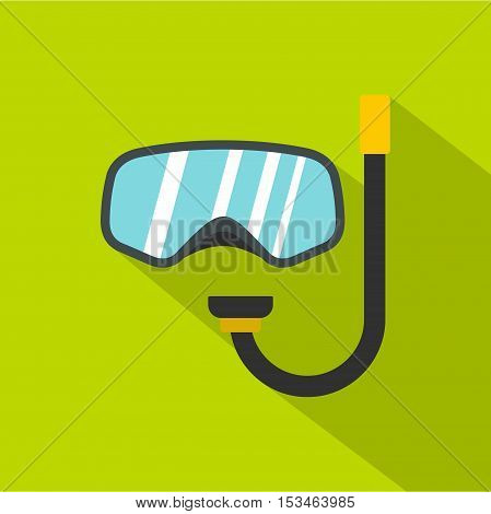 Goggles and tube for diving icon. Flat illustration of goggles and tube for diving vector icon for web