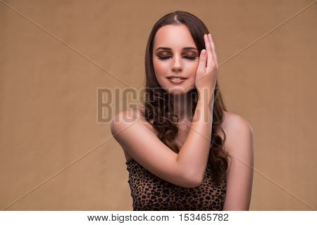 Young beautiful woman in fashion concept