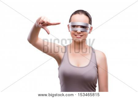 Woman with techno glasses isolated on white