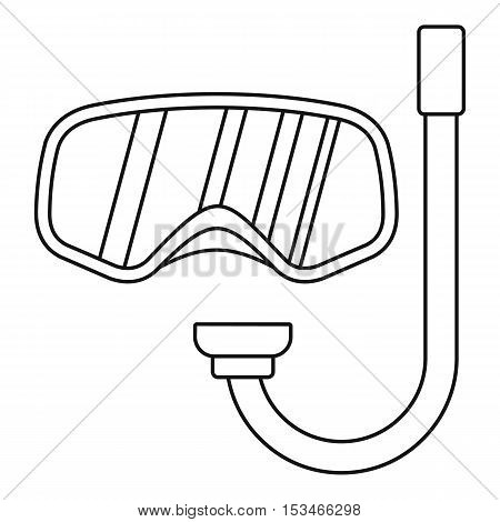 Goggles and tube for diving icon. Outline illustration of goggles and tube for diving vector icon for web