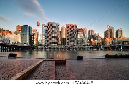 SYDNEY AUSTRALIA - October 26 2016 : Sunset of Darling Harbour adjacent to the city center of Sydney and also a recreational place in Sydney central business district