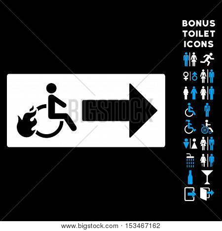 Patient Exit icon and bonus male and lady toilet symbols. Vector illustration style is flat iconic bicolor symbols, blue and white colors, black background.