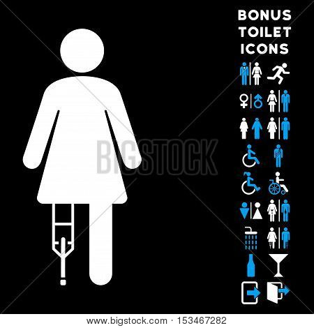 Patient Woman icon and bonus male and female toilet symbols. Vector illustration style is flat iconic bicolor symbols, blue and white colors, black background.