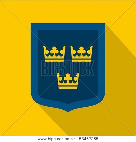 Coat of arms of Sweden icon. Flat illustration of coat of arms of Sweden icon for web
