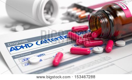 ADHD - Attention Deficit Hyperactivity Disorder - Handwritten Diagnosis in the Anamnesis. Medical Concept with Red Pills, Close View, Selective Focus. 3D Illustration.