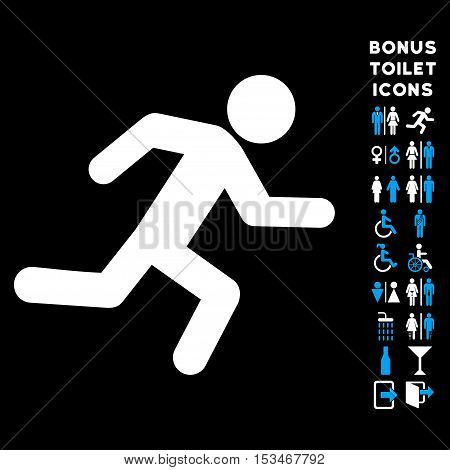 Running Man icon and bonus gentleman and lady toilet symbols. Vector illustration style is flat iconic bicolor symbols, blue and white colors, black background.
