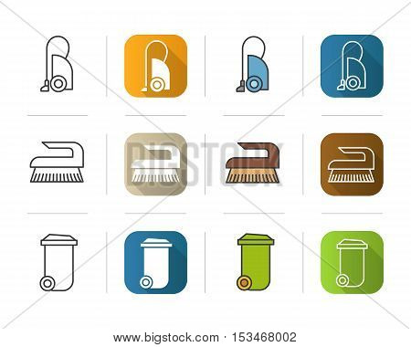 Cleaning equipment icons set. Flat design, linear and color styles. Vacuum cleaner, brush, trash can symbol. Isolated vector illustrations