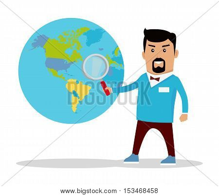 Man with loupe standing near the globe with political map. Flat design. Information searching concept vector illustration. Global politics, breaking news, environment, concept. On white background.