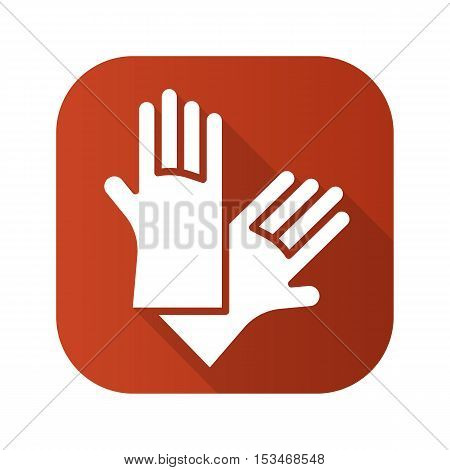 Latex gloves flat design long shadow icon. Vector silhouette symbol