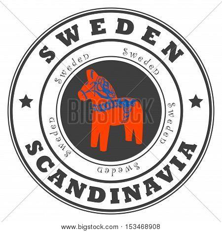 Grunge rubber stamp with word Sweden, Scandinavia inside, vector illustration