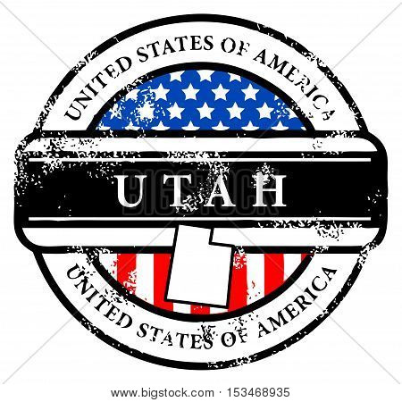 Grunge rubber stamp with name of Utah, vector illustration