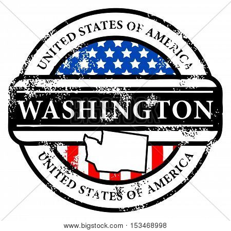 Grunge rubber stamp with name of Washington, vector illustration