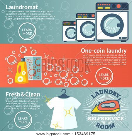 Set of Laundry banners with laundromat, detergents, iron and clothes. Vector illustration