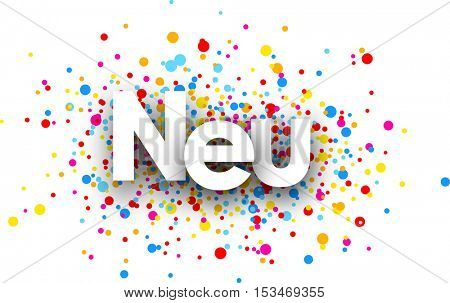 New paper banner with color drops, German. Vector illustration.