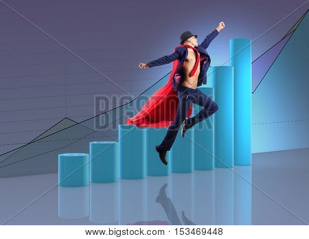 Man in red cover in business concept