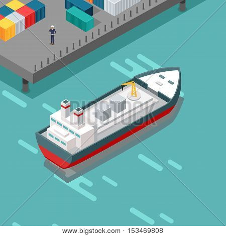 Cargo port vector illustration. Isometric projection. Ship with steel containers standing on the berth at the port, worker in helmet ashore. Transatlantic carriage. For delivery company adertising
