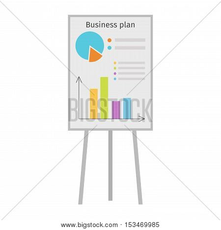 Business graph date chart on whiteboard flipchart icon business presentation vector illustration. Business presentation flipchart icon. Flipchart board with presentation graph. Flipchart icon growth